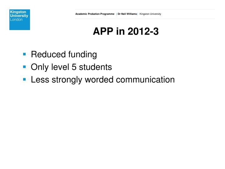 APP in 2012-3