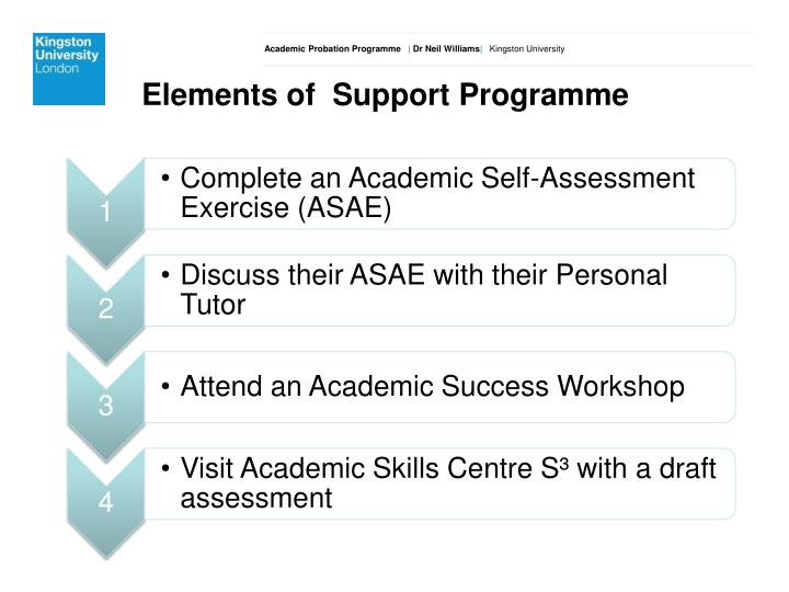 Elements of  Support Programme