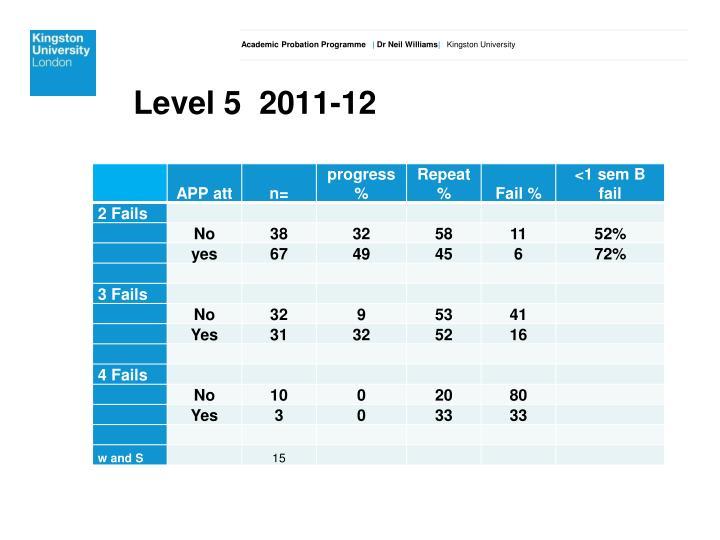 Level 5  2011-12
