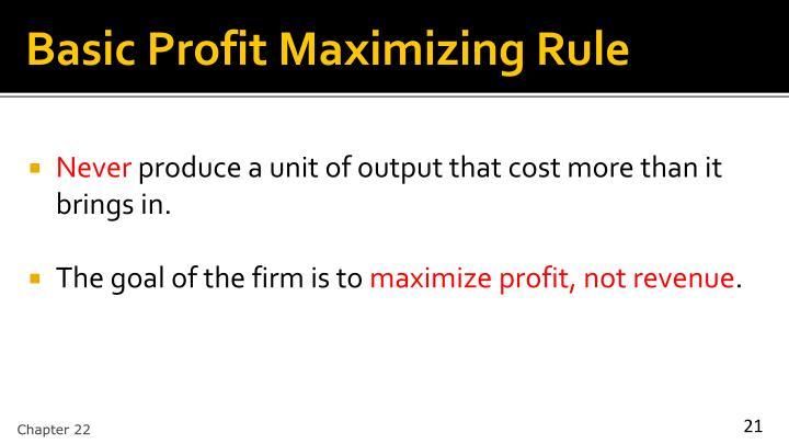Basic Profit Maximizing Rule