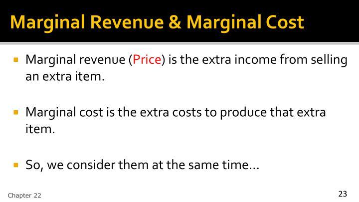 Marginal Revenue & Marginal Cost