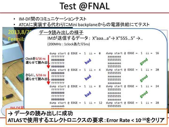 Test @FNAL