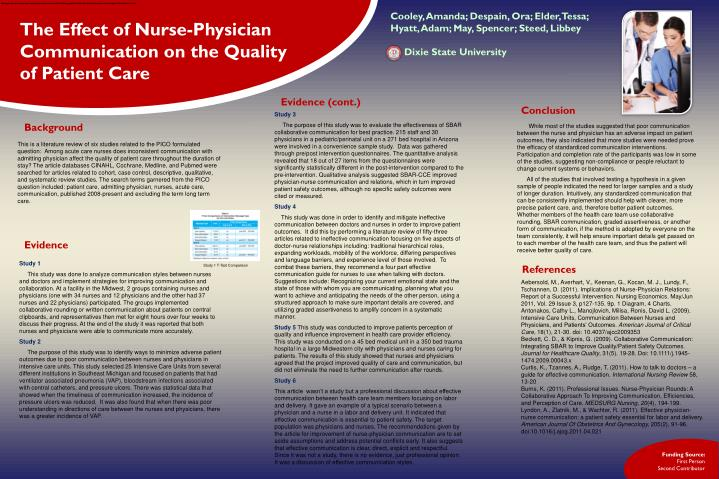 Among acute care nurses does inconsistent communication with admitting physician affect the quality ...