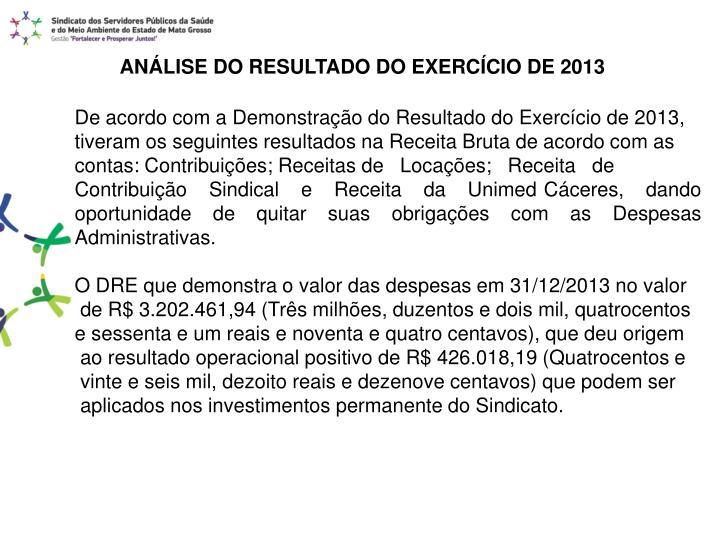 ANÁLISE DO RESULTADO DO EXERCÍCIO DE 2013