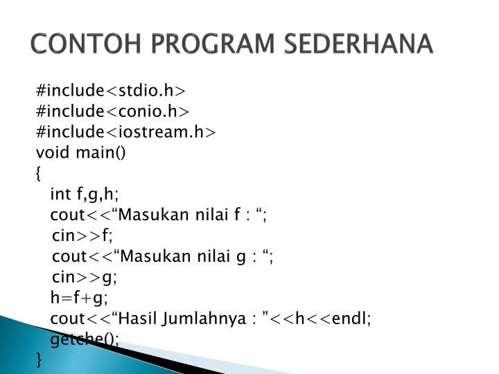 CONTOH PROGRAM SEDERHANA