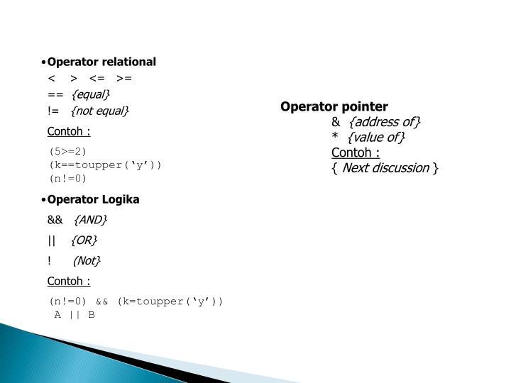 Operator relational