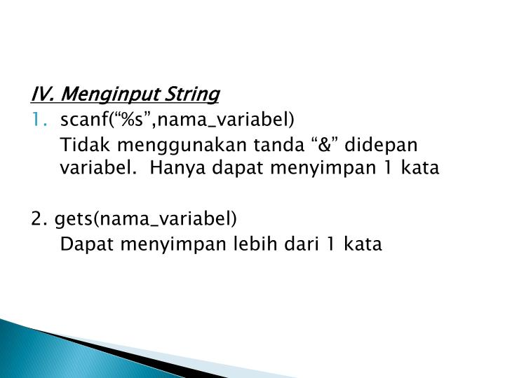 IV. Menginput String