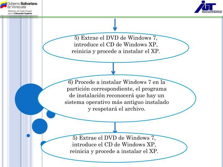 5) Extrae el DVD de Windows 7, introduce el CD de Windows XP, reinicia y procede a instalar el XP.