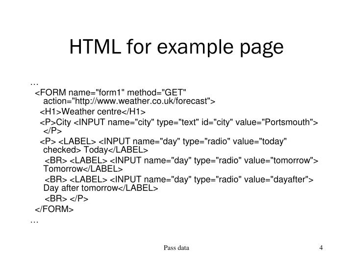 HTML for example page