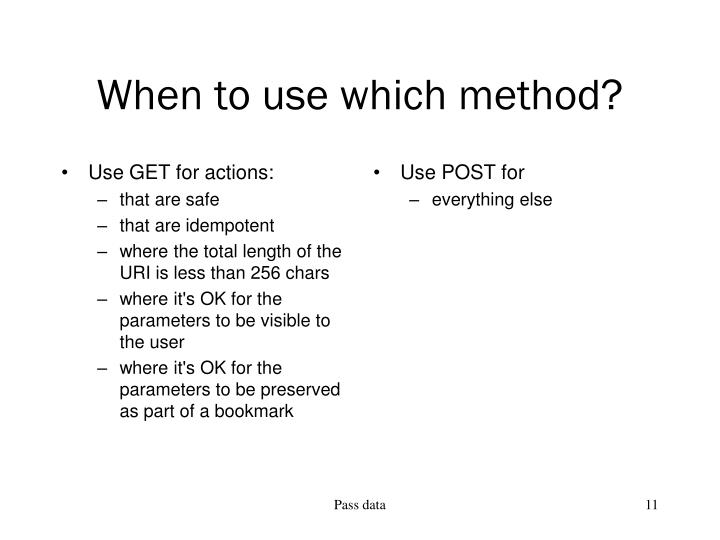 Use GET for actions: