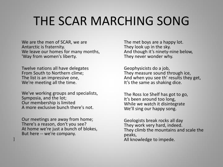 THE SCAR MARCHING SONG