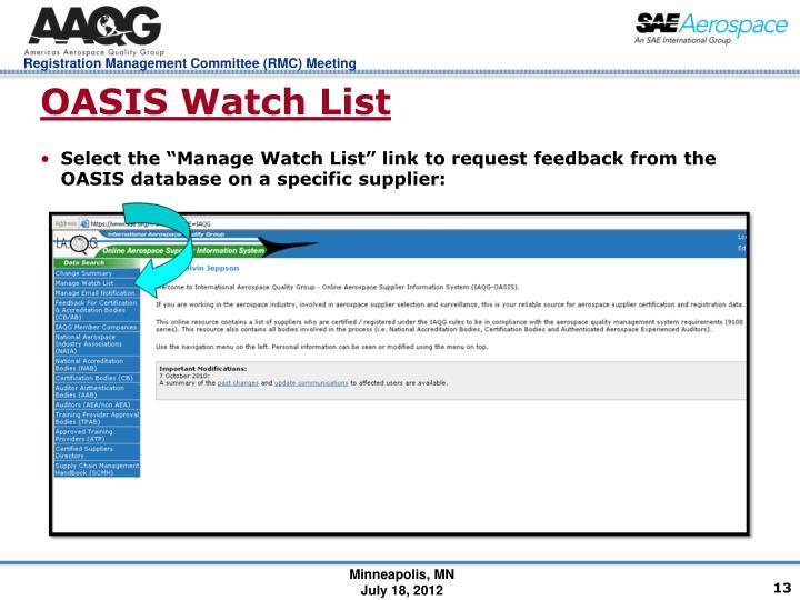 OASIS Watch List