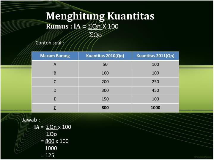 Menghitung Kuantitas