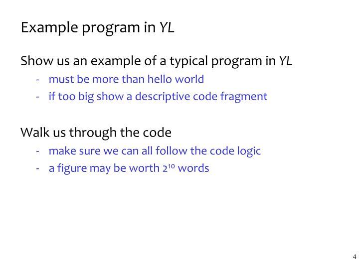 Example program in