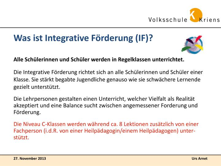 Was ist Integrative Förderung (IF)?