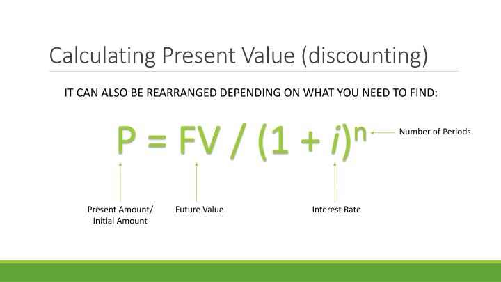 Calculating Present Value (discounting)