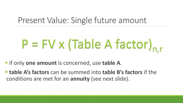 Present Value: Single future amount