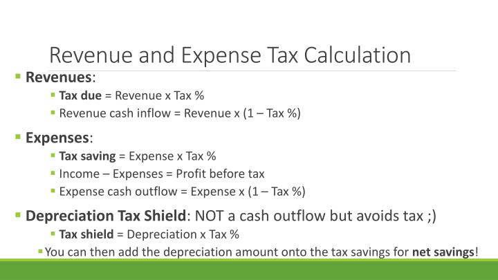 Revenue and Expense Tax Calculation