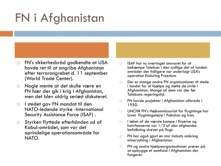 FN i Afghanistan