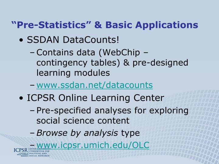 """Pre-Statistics"" & Basic Applications"