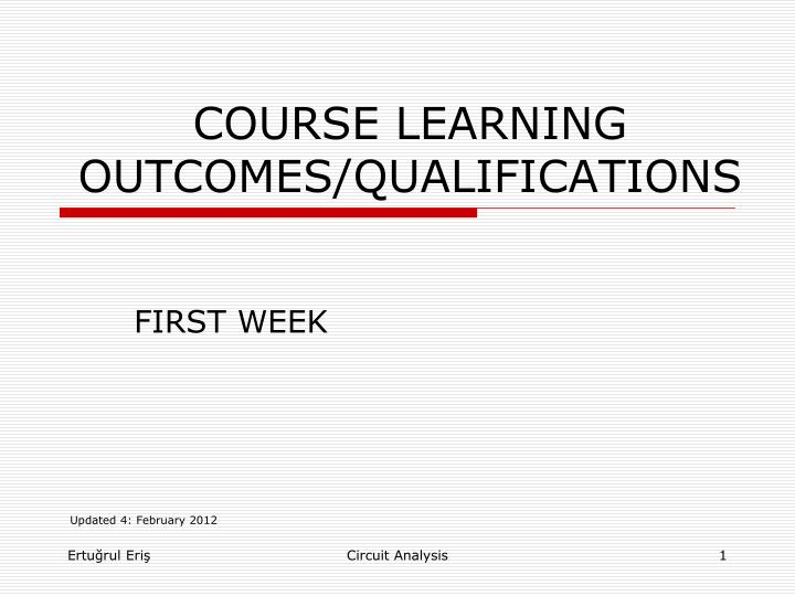 Course learning outcomes qualifications