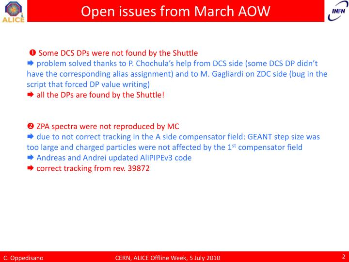 Open issues from march aow