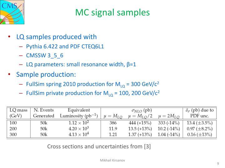 MC signal samples