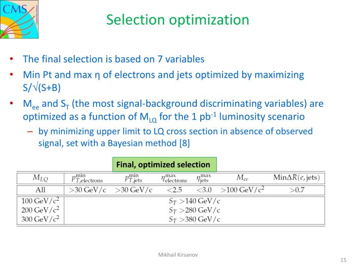 Selection optimization