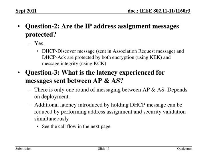 Question-2: Are the IP address assignment messages protected?