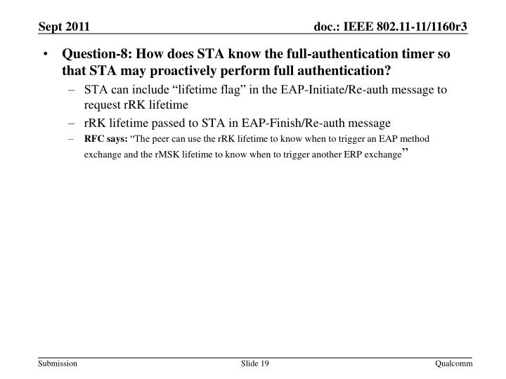 Question-8: How does STA know the full-authentication timer so that STA may proactively perform full authentication?
