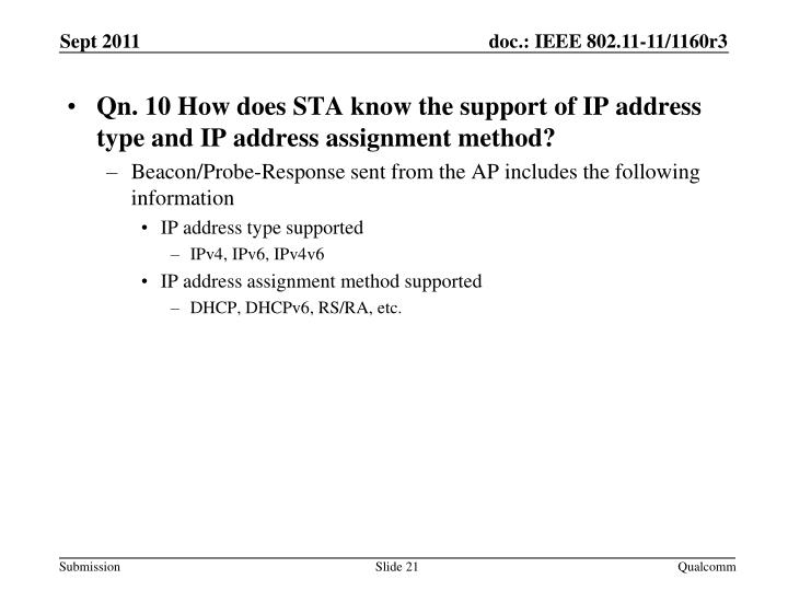 Qn. 10 How does STA know the support of IP address type and IP address assignment method?