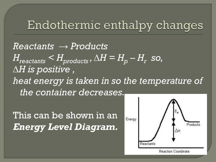 Endothermic enthalpy changes