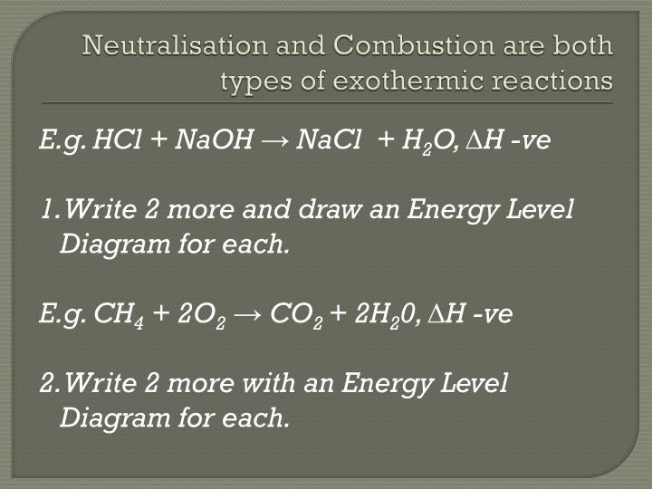 Neutralisation and Combustion are both types of exothermic reactions