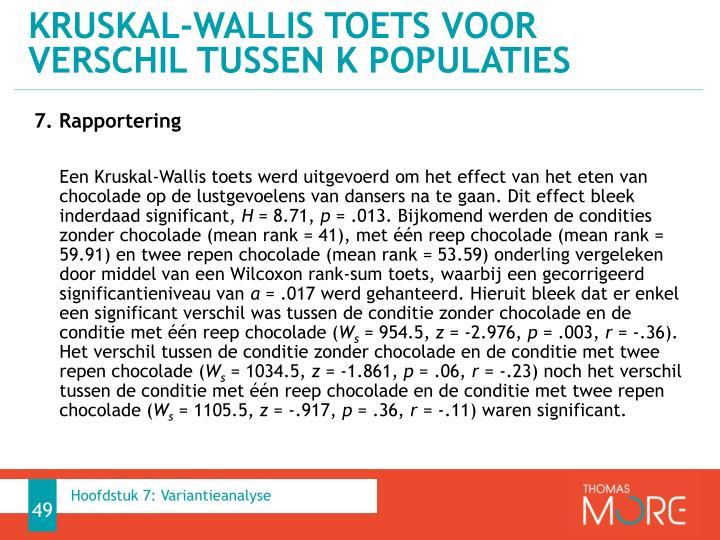 Kruskal-Wallis toets voor verschil tussen k populaties