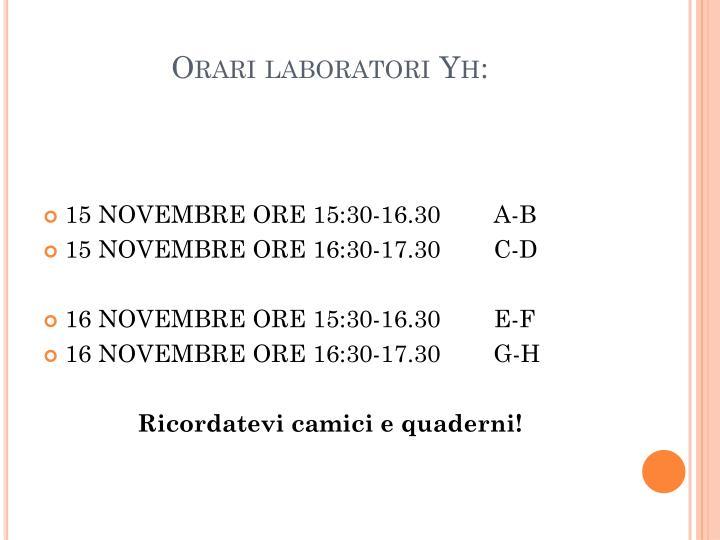 Orari laboratori