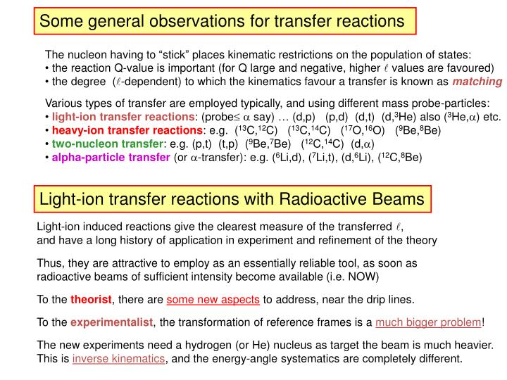 Some general observations for transfer reactions