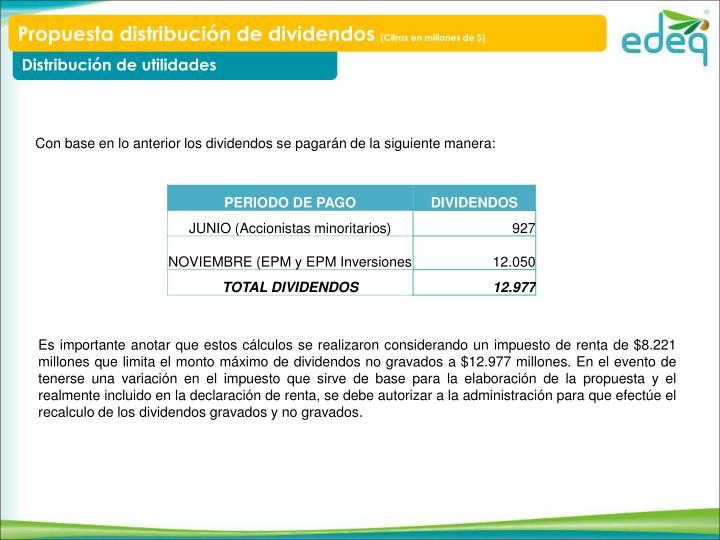 Propuesta distribución de dividendos
