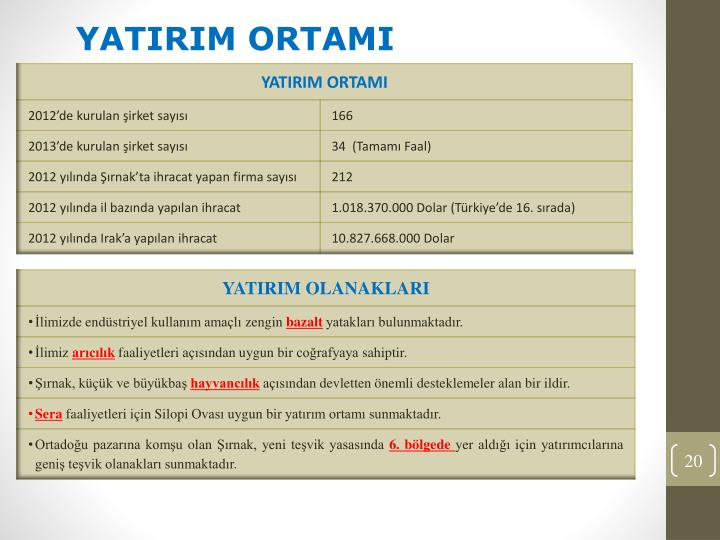 YATIRIM ORTAMI