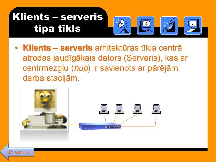 Klients – serveris tipa tīkls
