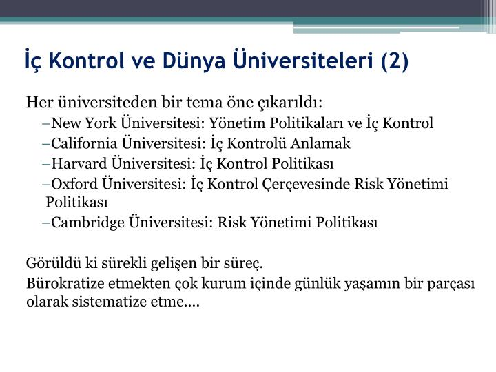 İç Kontrol ve Dünya Üniversiteleri (2)