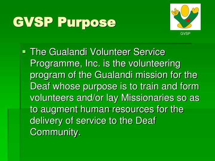 GVSP Purpose
