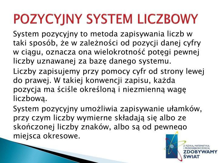 POZYCYJNY SYSTEM LICZBOWY