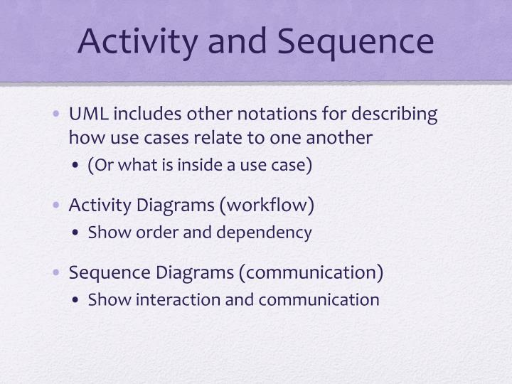 Activity and Sequence