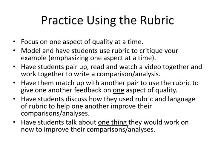 Practice Using the Rubric