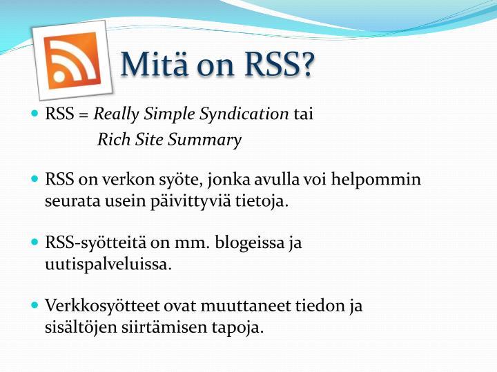 Mitä on RSS?