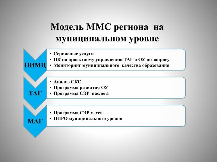 Модель ММС региона  на  муниципальном уровне