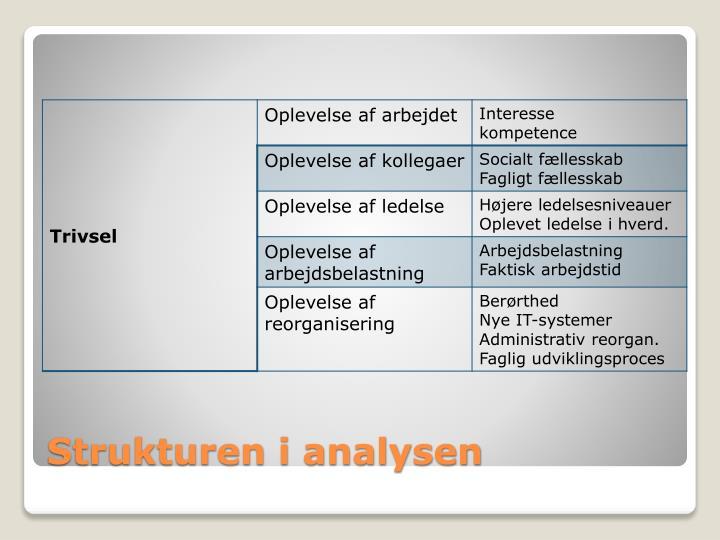 Strukturen i analysen