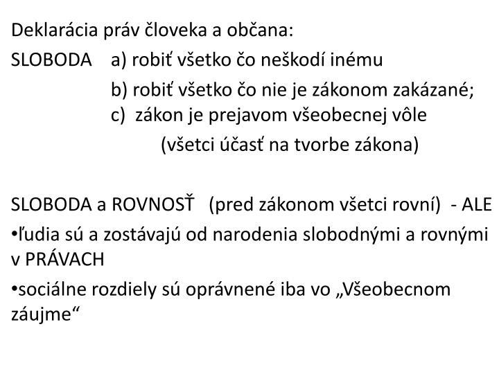 Deklarácia práv človeka aobčana: