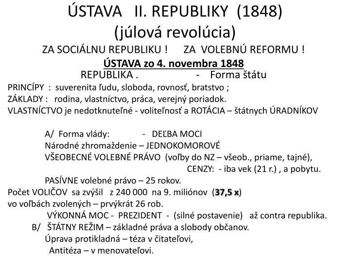 ÚSTAVA   II. REPUBLIKY  (1848