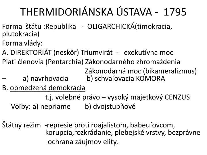 THERMIDORIÁNSKA ÚSTAVA -  1795
